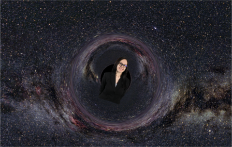 A woman in a black hole.